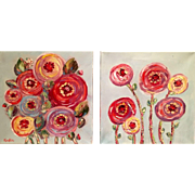 Pair Abstract Flowers Paintings 12x12 Diptych Original Oil Paintings by Artist Sarah Kadlic - Red Tag Sale Item