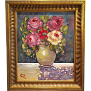 French Vase Poppies 24x28 Original Oil Painting Still Life Flowers Framed in Gilt Larson Juhl Frame