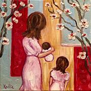 Mother, Child, Baby Original Oil Painting by Artist Sarah Kadlic 12x12