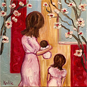 Mother, Child, Baby Original Oil Painting by Artist Sarah Kadlic 12x12
