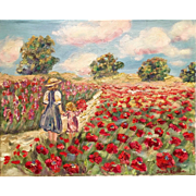 "Mother and Child in a Field of Poppies, 20x16"" Original Oil Painting"