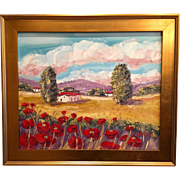 French Country Red Poppies Gilt Framed Landscape Original Oil Fine Art by Sarah Kadlic