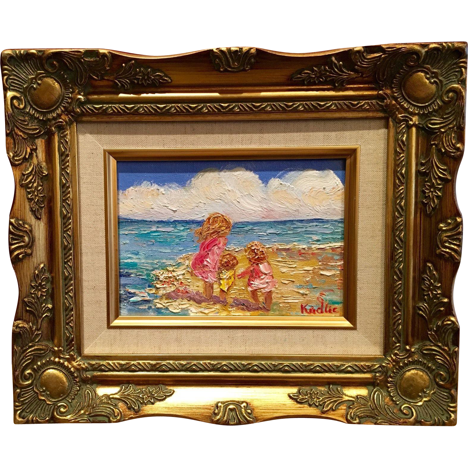 Mother and children at the beach original oil painting for Oil painting for kids