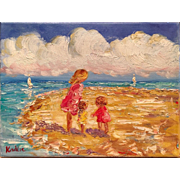 """Mother and Children at the Beach"" Original Oil Painting by Artist Sarah Kadlic - Red Tag Sale Item"