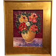 Abstract Floral Still Life Flowers in Vase Original Oil Painting with Large Gilt Wood Frame