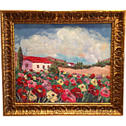 French Country Floral Gardens of Poppies, Original Oil Painting by Artist Sarah Kadlic.