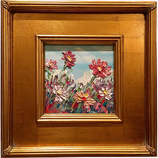 """""""French Wild Flowers Abstract"""", Original Oil Painting by artist Sarah Kadlic, 12""""x12"""" Gilt Frame"""