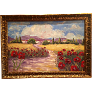 """French Provence Red Poppies"" 36x24 Original Oil Painting Framed in Gilt Wood Carved Frame by artist Sarah Kadlic"