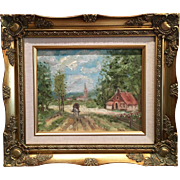 """French Village Landscape"", Original Impressionist Oil Painting with Gilt Frame by artist Sarah Kadlic"