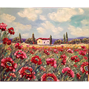 """Tuscany Red and Pink Poppies"", Original Fine Art Oil Painting by Artist Sarah Kadlic."