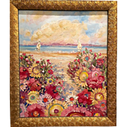 Abstract Impressionist Floral Gardens by Beach Original Oil Painting by Sarah Kadlic