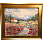 Provence France French Country Original Oil Painting Poppies with Gilt Frame by Artist Sarah Kadlic