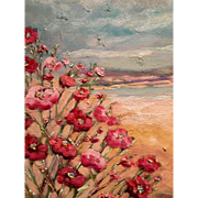 "Abstract Vertical Wild Poppies, 24x20"" Original Oil Painting by Artist Sarah Kadlic"