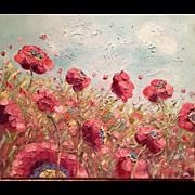 Abstract Wild Poppies, Original Oil Painting by Artist Sarah Kadlic
