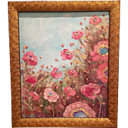 "Abstract Impressionist Vertical Pink Poppies Original Oil Painting 24"" x 20"""
