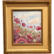 Abstract Wild Poppies in Vintage 1940's Mid-Century Modern Frame, Original Oil Painting by artist Sarah Kadlic