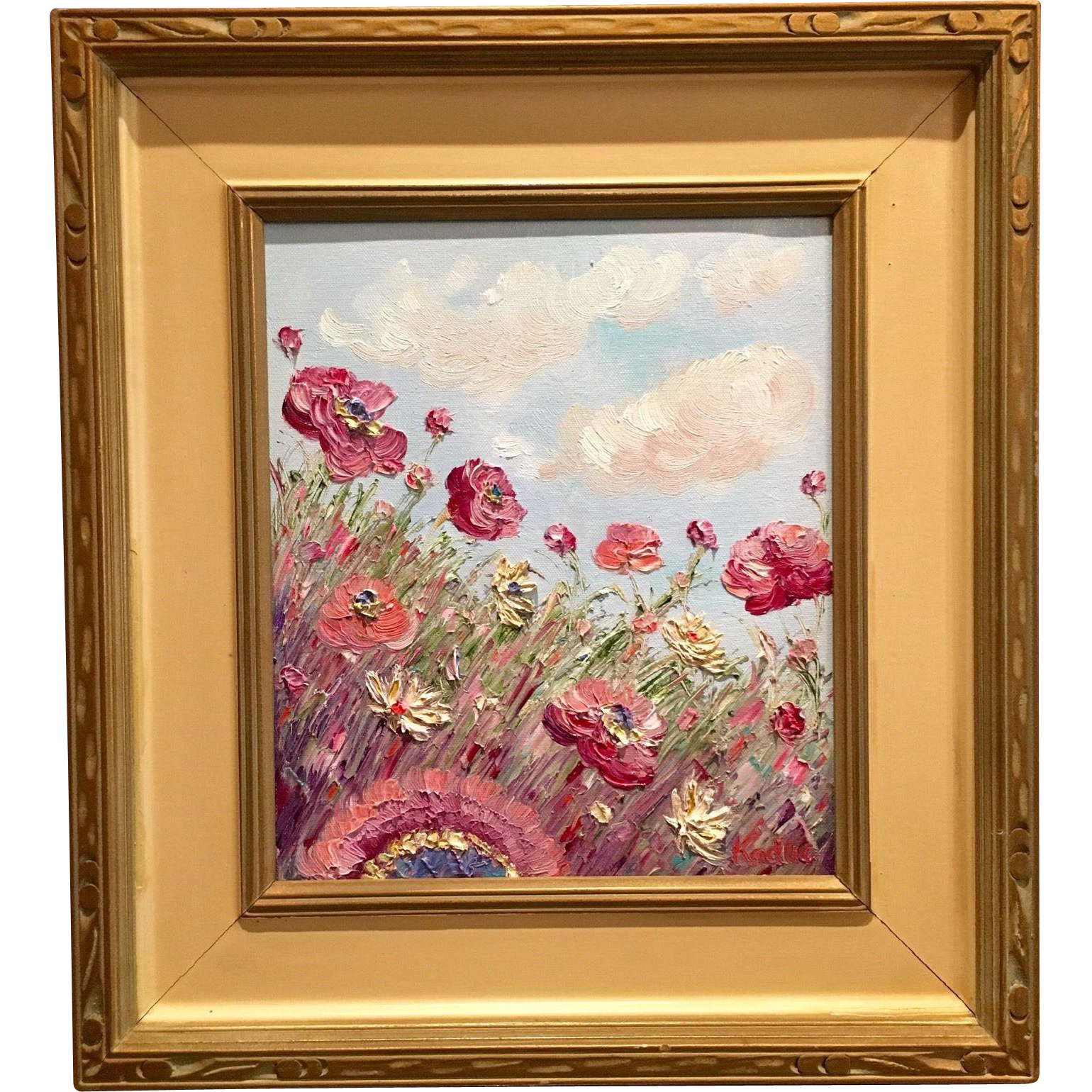 abstract wild poppies in vintage 1940s mid century modern frame original oil painting by artist sarah kadlic