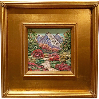 """Abstract Mountain Landscape"", Original Oil Painting by artist Sarah Kadlic, Gilt Framed 12x12"""