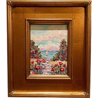 """French Riviera Sailboat"", Original Seascape Oil Painting by artist Sarah Kadlic, 12""x14"" Gilt Frame"