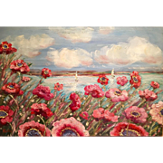Abstract Seascape with Sailboats and Poppies, Original Oil Painting by Artist Sarah Kadlic