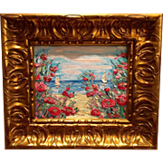 """French Riviera Seascape"", Gilt Wood Framed Original Oil Painting by artist Sarah Kadlic"