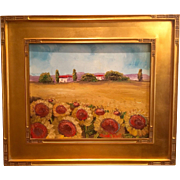 """Tuscany Sunflowers Landscape"", 16x20"" Gilt Framed Original Oil Painting by artist Sarah Kadlic"