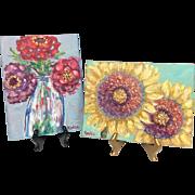 """Wild Flowers in Vase & Open Faced Sunflowers"", Pair of Original Oil Paintings by artist Sarah Kadlic"