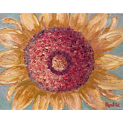 """Abstract Sunflower"", 11x14 Original Oil Painting by artist Sarah Kadlic"
