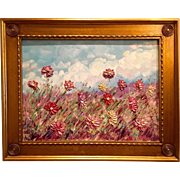 """Abstract Wild Flowers"", Original Oil Painting by artist Sarah Kadlic sized 24""x18"" in Gilt Frame"
