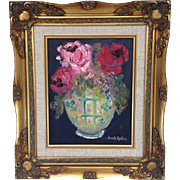 "Floral Still Life, Original Oil Painting by Artist Sarah Kadlic, Impasto Style, 8x10"", Gilt Wood Lined Frame"