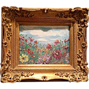 """""""French Wild Flowers Landscape"""", Original Oil Painting by artist Sarah Kadlic in Gilt Baroque Frame"""