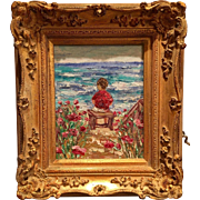"""Young Boy watching the Waves"", Seascape Original Oil Painting by artist Sarah Kadlic in Gilt European Style Frame"