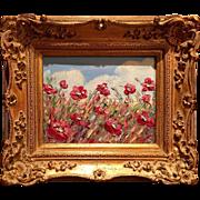 """French Wild Flowers Landscape"", Original Oil Painting by artist Sarah Kadlic."