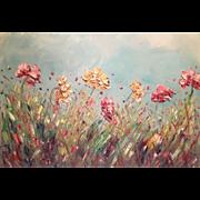 """Abstract Wild Flowers Pink & Gold"", Original Oil Painting by artist Sarah Kadlic 36x24"""