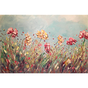 """Abstract Wild Flowers Pink & Gold"", Original Oil Painting by artist Sarah Kadlic 36x24"""