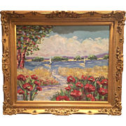 "Gilt Framed ""French Riviera Poppies"", Original Oil Painting by artist Sarah Kadlic 24x20"