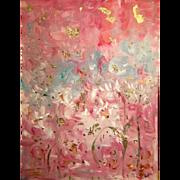 """Abstract Pink Gold White Gilt"", Original Oil Painting by artist Sarah Kadlic Huge 40""x30"""
