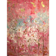 """Abstract Pink Gold White Gilt"", Original Oil Painting by artist Sarah Kadlic Huge 40""x30"""