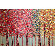 """Abstract Trees Landscape"", Original Oil Panting by artist Sarah Kadlic 36x24"""