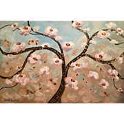 """Abstract White Blossoms and Gilt Bronze"", Original Oil Painting by artist Sarah Kadlic."