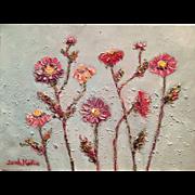 """Abstract Wild Flowers"", Original Oil Painting by artist Sarah Kadlic, 12x16"""