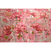 """Abstract Wild Poppies Red and Pink"", Original Oil Painting by artist Sarah Kadlic 36x24"""