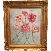 """""""French Pink and Red Floral Abstract"""", Original Oil Painting by artist Sarah Kadlic in Gilt Wood Frame"""