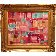 """Abstract Red and Pink Study"", Gilt Framed Original Oil Painting by artist Sarah Kadlic, 24""x20"""