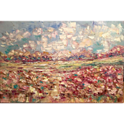 """""""Abstract Late Summer Landscape"""", Original Oil Painting by artist Sarah Kadlic, 36x24"""