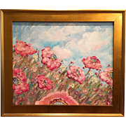 """French Wild Pink Poppies"", Original Oil Painting by artist Sarah Kadlic, Gilt Wood Frame"