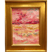 """Abstract Impasto of Color"", Original Oil Painting by artist Sarah Kadlic, Framed Giltwood Frame 16x20"""