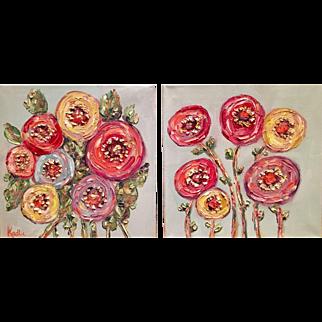 """Abstract Poppies Pair"", Original Oil Painting by artist Sarah Kadlic, 12x12"" Each"