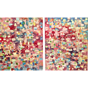 """Abstract Expressionist Multicolored Impasto"", Original Oil Painting by artist Sarah Kadlic, Diptych Two 32x20"""