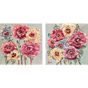 """""""Abstract Floral Pair"""", Flowers Original Oil Painting by artist Sarah Kadlic, Set of Two 12x12"""""""